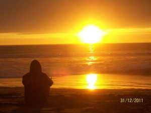 man pensive sunset