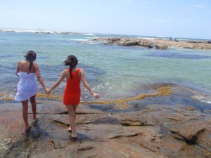 two girls by the sea